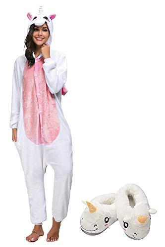 Mescara Einhorn Jumpsuit Pyjama Damen Lang Winter Panda Kostüm Schalfanzug Cosplay Anzug Öhrchen 3D Kapuze für Fasching Karneval Theater Halloween Pyjama-Party