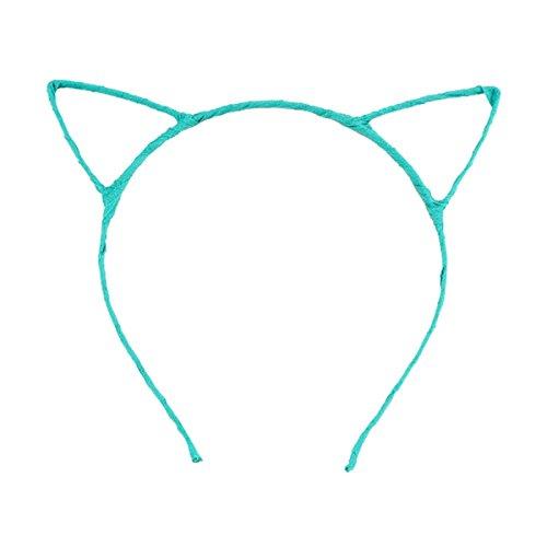Cute Fancy Dress Costume Party Cat Ears Wired Headband (Light Blue)
