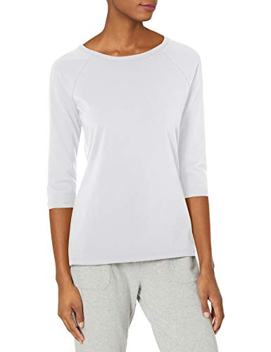 Hanes Women's Stretch Cotton Raglan Sleeve Tee, White, X Large