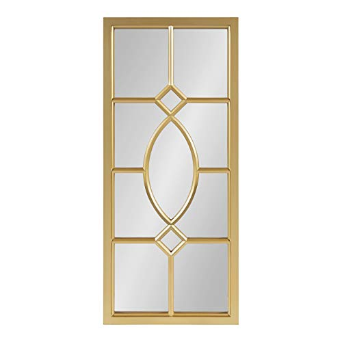 Kate and Laurel Cassat Framed Wall Accent Mirror, 13x30, Gold