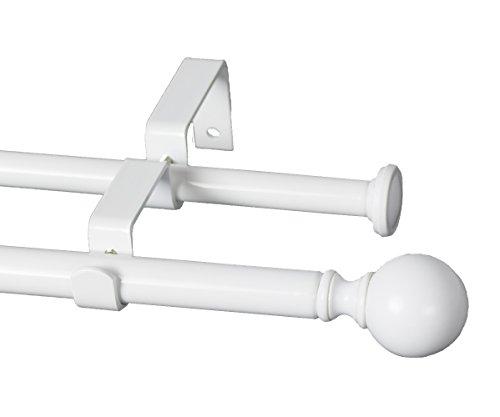 "Urbanest Ball Adjustable Double Drapery Curtain Rod Set, 5/8"", 48""-84"", Glossy White"