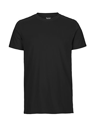 -Neutral- T-Shirt, 100% Bio-Baumwolle. Fairtrade, Oeko-Tex und Ecolabel Zertifiziert, Textilfarbe: schwarz, Gr.: L