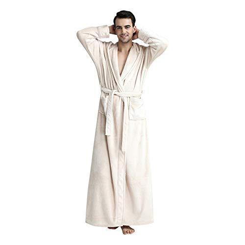 Albornoz con Capucha para Hombre Albornoz Largo Pijama Espesado Terciopelo de Coral Robe Bata de baño Pijama Grueso de Invierno Hombres Bata Largo 113