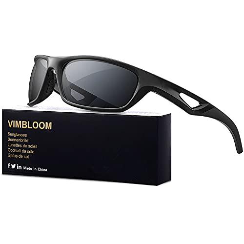 Vimbloom Hombre Gafas de Sol Deportivas polarizadas para béisbol, Atletismo, Ciclismo, Golf, Pesca VI685 (Negro Mate)