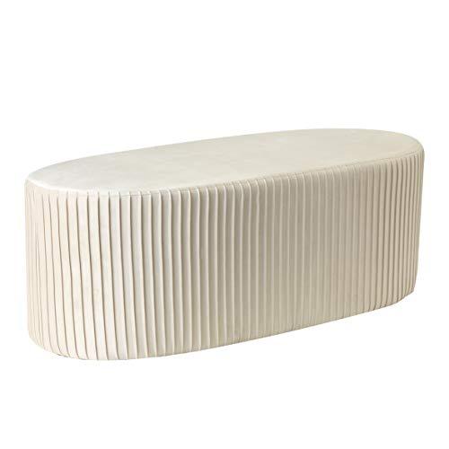 Baroni Home Pouf Velluto Lungo Panca Fondo Letto a Coste Ovale Bianco 101X42X37cm