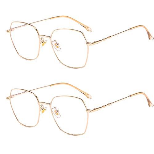 Leesbril leesbril leesbril leesbril set van 2 blauw licht blokkeert volledig metalen frame stabiele scharnieren verschillende kleuren geschikt voor alle soorten gezicht, mannen en vrouwen