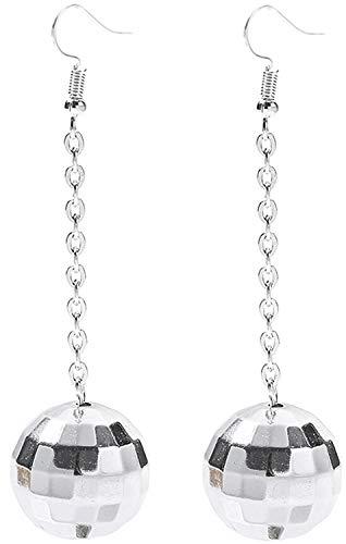Disco Ball Earrings for Women - 70's Silver Halloween Earrings Women's Costume Accessories