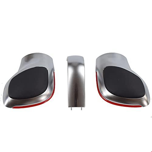 Pomo de cambio, palanca de cambios cromada / mate con emblema de cubierta DSG para VW Golf 6 7 R GTI Passat B7 B8 CC R20 Jetta MK6 GLI (Red-Matt-electroplate strip)