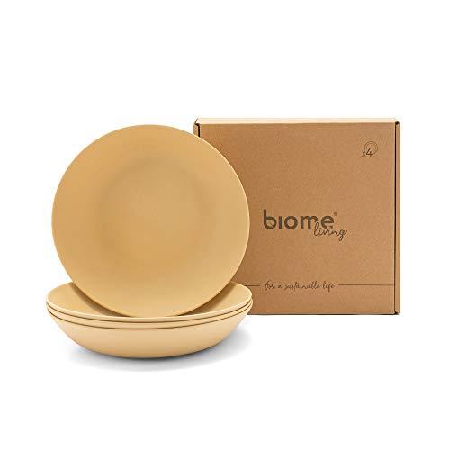 Biome Living Set de 4 platos hondos de bambú, sin BPA - Platos de bambú elegantes y ecológicos - Vajilla de bambú para adultos y niños cm. 22x22x4,5 h - Set de 4 piezas en color Avellana