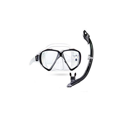 Máscara de buceo para adultos, antiempañamiento, para equipo de natación, para esnórquel, color negro
