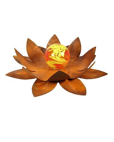 Bornhöft Gartendeko Blüte Lotus, Naturrost mit Glaskugel Dekoblume Metallblüte Windlicht Edelrost rostige Gartendekoration (50cm)