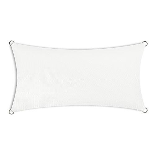 Schramm® Sonnensegel rechteckig in 4 verschiedenen Größen und 2 Farben Sonnen Segel Sonnenschutz Sichtschutz Windschutz, Farbe:Weiss, Größe:2 x 3 m