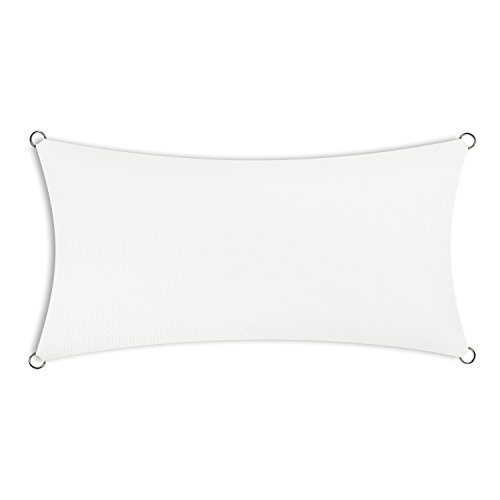 Schramm® rechthoekige zonnezeilen in 4 verschillende maten en 2 kleuren Zonnezeilen Zonnewering Zichtbescherming Privacy scherm Windbescherming, Farbe:weiss, Größe:2 x 4 m