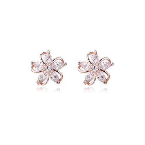 Yarmy - Pendientes de plata con diseño de flores y diamantes, diseño de flores