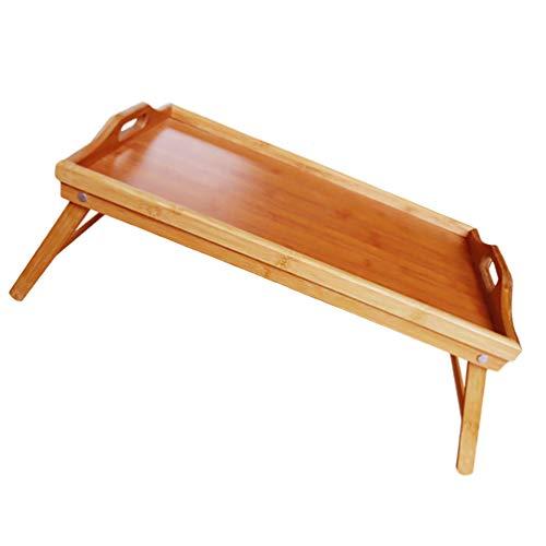 WINOMO Bambus Bett Tablett Frühstück Fach Faltbare Holz Tablett mit Beine Holz Tee Platte Kaffee Trays Dessert Serving Platter Lebensmittel Gerichte Trinken Platter für Hause