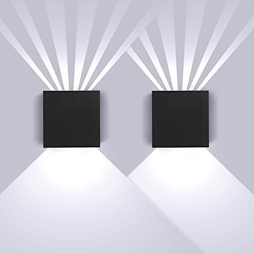 SISVIV 2 Pezzi 8W Applique da Parete Esterno Interno LED IP65 Impermeabile Lampada da Parete Moderno...