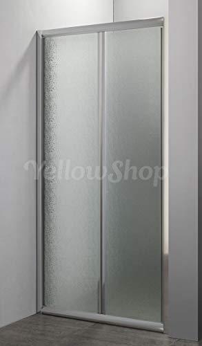 Yellowshop - Porta nicchia libro soffietto pieghevole bagno box doccia cristallo temperato cm 70, 80, 90, 100 (H190) (da cm 66 a 70 (h 190), Puntinato)