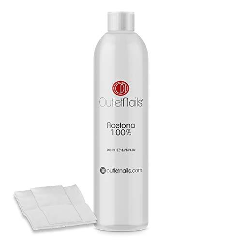 Acetona 100% Pura 200ml de alta calidad + 10 Celulosas | Ideal para retirar Esmaltes Permanentes | Made in Spain