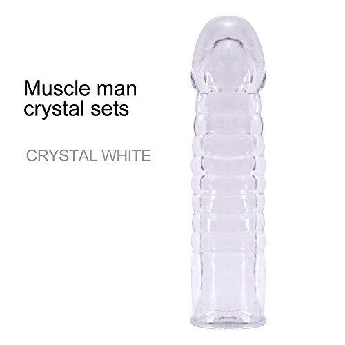 NMYYV 6.1inch Silikon P-ê-NIS Verlängerungshülse Finger Cóndoms Jelly Extender, Spielzeug 100% wasserdicht (Farbe: Grau),Weiß