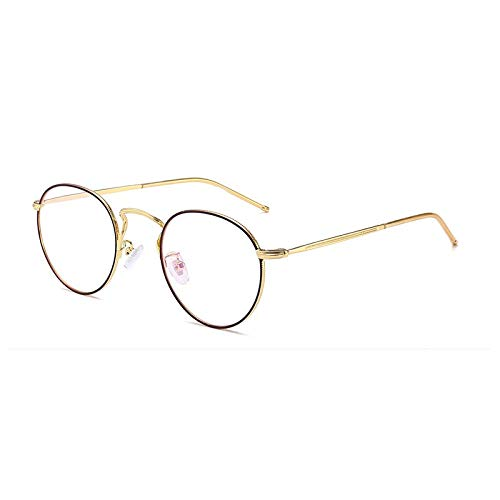 SNXIHES Sonnenbrillen Runde Nerd Brille Klare Linse Unisex Mode Gold Runde Metallrahmen Brillengestell Optisch Männer Frauen Schwarz 6