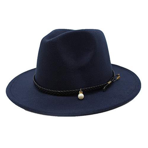 TX GIRL Chapeau en Feutre de Laine Fedora Hommes Femmes Large Brim Eglise Hat Jazz Chapeau Voyage Automne Bibi Trilby Chapeau Taille 56-58cm (Color : Drak Blue, Size : 56-58)