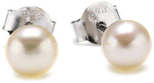 MTS Damen-Ohrstecker Hochwertige Süßwasser-Zuchtperlen in ca. 6mm Button glanz leicht apricót 925 Sterling Silber rodiniert ES00408