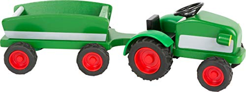 Small Foot Wooden Toys Woodfriends Tractor trailer with rubber tires designed for children ages 3+