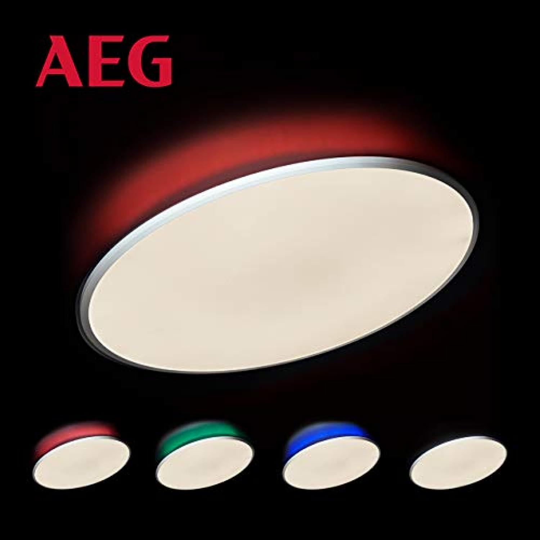 AEG Katina LED Deckenleuchte lampe mit RGB-Hintergrundbeleuchtung, 75cm in sand wei, mit Fernbedienung, stufenlos dimmbar, 60 Watt, 5000 Lumen, Lichtfarbe 2700K (warmwei) bis 6000K (tageslichtwei)