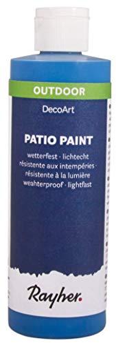 Rayher 38611374  Patio Paint, azurblau, Flasche 236 ml, wetterfeste Acrylfarbe für den Außenbereich, lichtecht, Farbe für innen und außen, Outdoor-Farbe