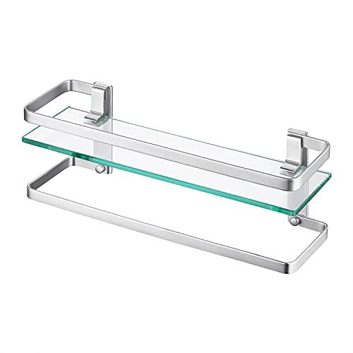 ENCOFT Estanteria Baño Aluminio Estanteria Pared 8MM Extra Gruesa Vidrio Templado Estanteria Ducha Rectangular Balda Cristal Baño (1T, Plata)