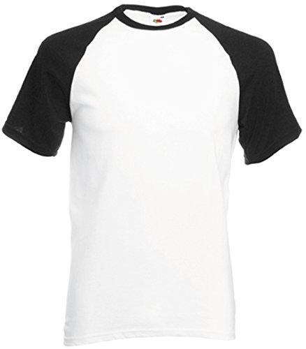 Fruit of the Loom Shortsleeve Baseball T-Shirt WeissSchwarz L