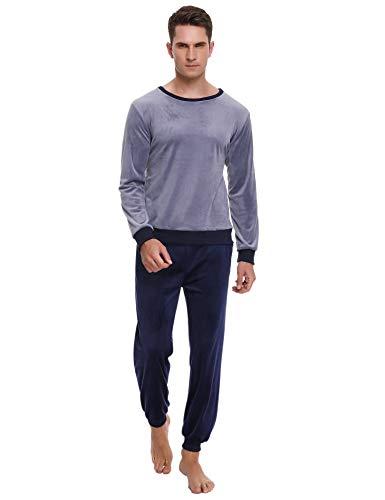 Abollria Conjunto de Pijama Básico para Hombre Ropa de Noche Cuello Redondo Pijama Polar Manga Larga Pantalones Largo para Primavera Invierno, Gris + Azul Real, XS