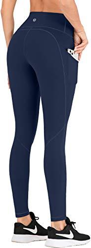IUGA Pantalones de yoga de talle alto con bolsillos, leggings de entrenamiento para mujeres control de barriga, 4 bolsillos de elastano leggings de yoga -  Azul -  Medium