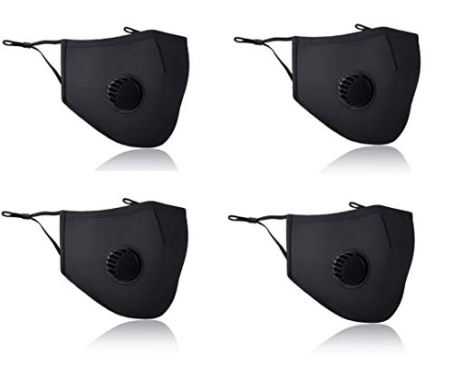 Global King Fashion Mask - 4 Pieces Reusable and Washable with Filter - Black