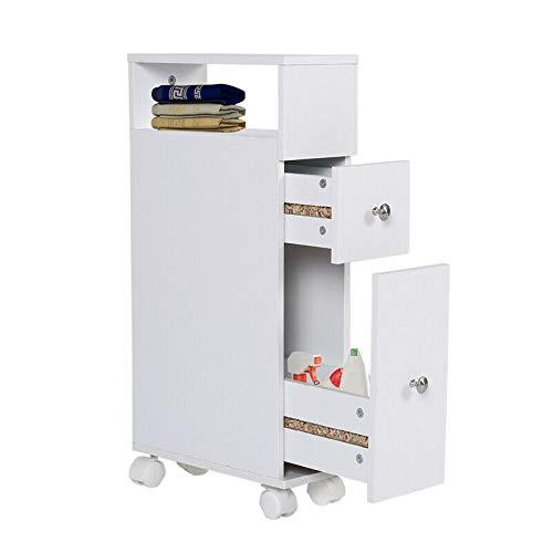 SHUANGJUN Badschrank Beistellschrank mit Schubladen Schrank Standschrank Hochschrank Weiß Badezimmerschrank mit Rollen Badezimmerspeicher mit 2 Schubladen Weißer Holzbadezimmerschrank