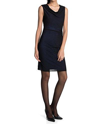ESPRIT Collection Damen Kleid mit schmeichelndem Faltenwurf, Knielang, Einfarbig, Gr. 40 (Herstellergröße: L), Schwarz (BLACK 001)