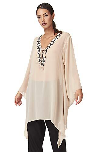 CONTROCORRENTE Camisa Caftán Mujer Transparente con Perlas Woman Shirt Beads V-Neck Kaftan CC-CRO009 Beige M