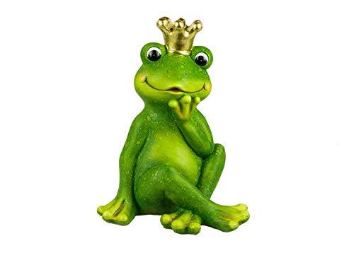 formano Gartenfigur Frosch Froschkönig mit Krone grün Magnesia wetterfest Froschfiguren (37x28x24cm)