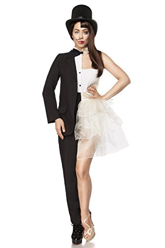 Generique - 80097 Exklusives MannFrau-Kostüm für Damen Fasching schwarz-Weiss S (36)
