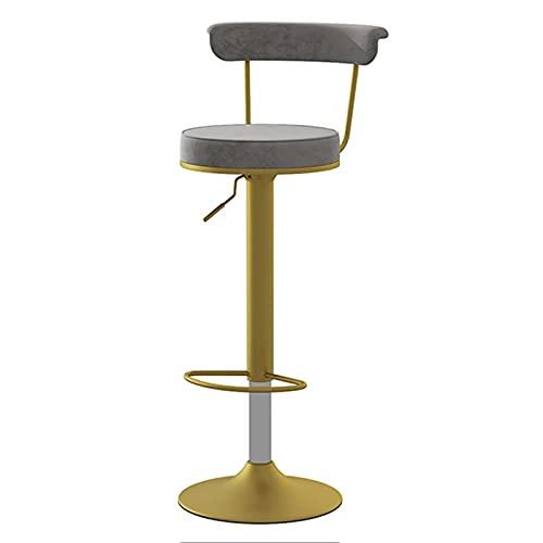 DFBGL Drehbarer Barstuhl High BarLift Esszimmerstühle mit goldenen Beinen und Samtstuhloberfläche, höhenverstellbar 62-82 cm (Farbe: Grau)