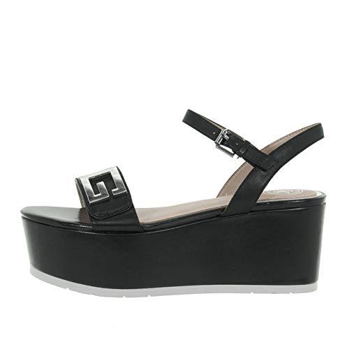 Guess Scarpe Donna Sandalo Katina Zeppa Pelle Logo G Black FL6TK2LEA04 n° 35