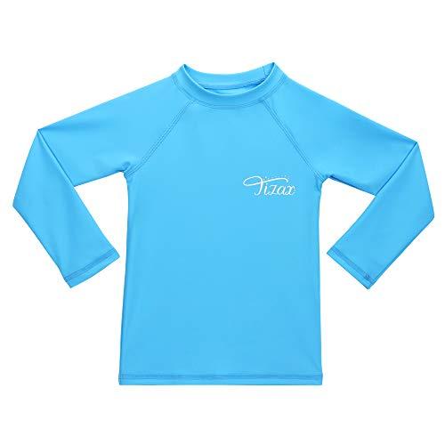 TIZAX Rash Guard Bambina Maglia Nuoto UV Protettiva con Maniche Lunga Costume da Bagno per Ragazze Asciugatura Rapida Blu 128