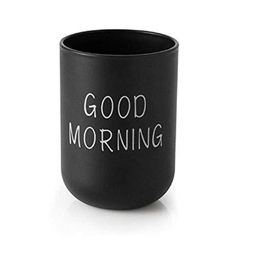 Gobelet pour brosse à dents Good Morning léger et support de dentifrice portable pour voyage, maison, salle de bain, lavage, rinçage des dents (Noir)