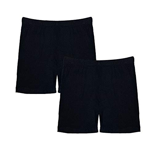 Popular Girl's Solid and Print Active Bike Shorts - 2 Pack - Solid Black - 10/12