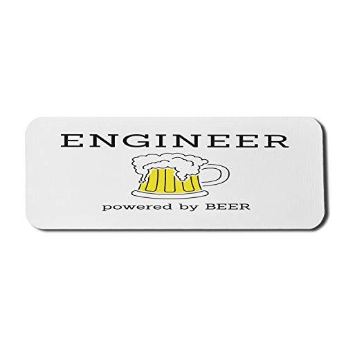 Sprichwort Computer Mouse Pad, witziger Message Engineer Angetrieben von Bier und schaumigem Bier in einer Tasse, Rechteck rutschfestes Gummi-Mauspad Groß Schwarz Gelb und Weiß