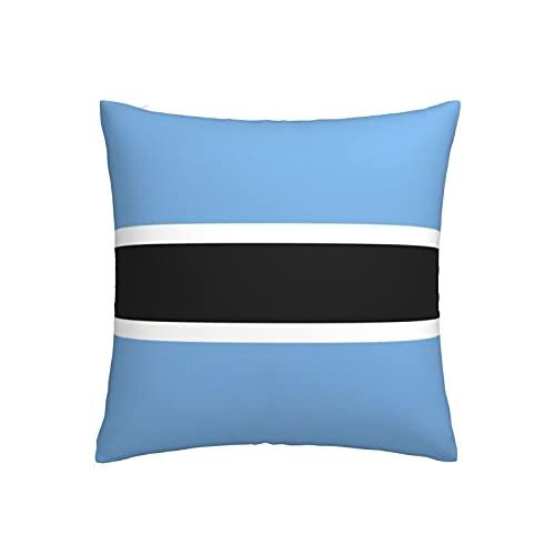 Kissenbezug mit Botswana-Flagge, quadratisch, dekorativer Kissenbezug für Sofa, Couch, Zuhause, Schlafzimmer, für drinnen & draußen, 45,7 x 45,7 cm