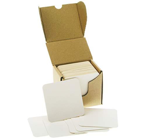 ZEZAZU 9 cm Quadratisch Schwergewicht Leer Weiß Papier Zellstoffplatte Saugfähig Untersetzer für Getränke, DIY Handwerksprojekt, Kartonpapier, Zen Fliesen und Mini Kunst Bord