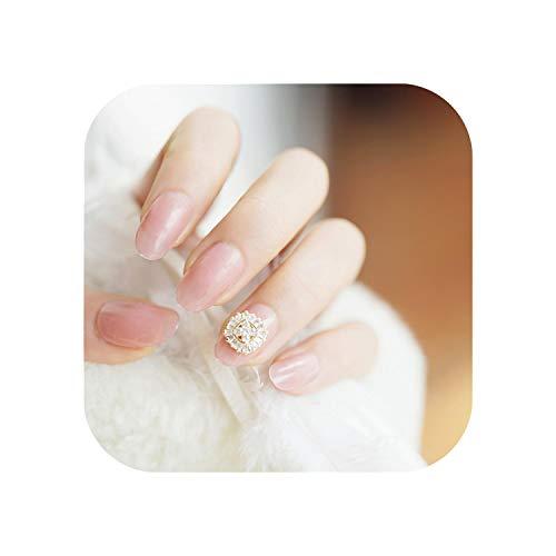 24 Stück Pink Zircon Round Fake Nails Fertiges Produkt Ins Künstlicher französischer Abschnitt Spitze Falsche Nägel Mit Kleber Aufkleber-192-