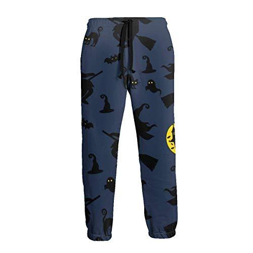 Fondo de Vector Creativo con pantalón de chándal de Bruja murciélago Fantasma para Hombre Pantalón de Basculador Suave Pantalones Deportivos de Cintura L