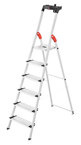 Hailo L80 ComfortLine, Alu-Sicherheits-Stehleiter, 6 XXL-Stufen, belastbar bis 150 kg, silber, Made in Germany, 8040-607